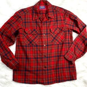 Vintage Men's Pendleton Plaid Shirt Tartan Red USA